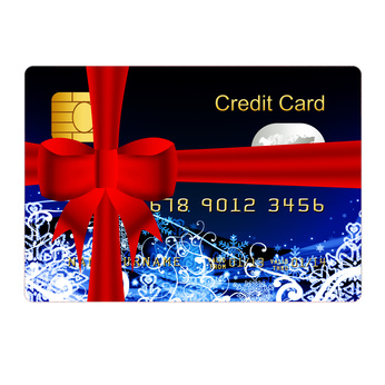 credit card present with red bow
