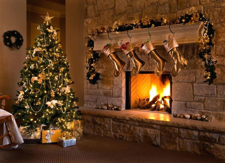 christmas-tree-and-fireplace-a-beautiful-contemporary-gold-themed-eve-fireplace-tree-stockings-and-living-christmas-tree-fireplace-scene